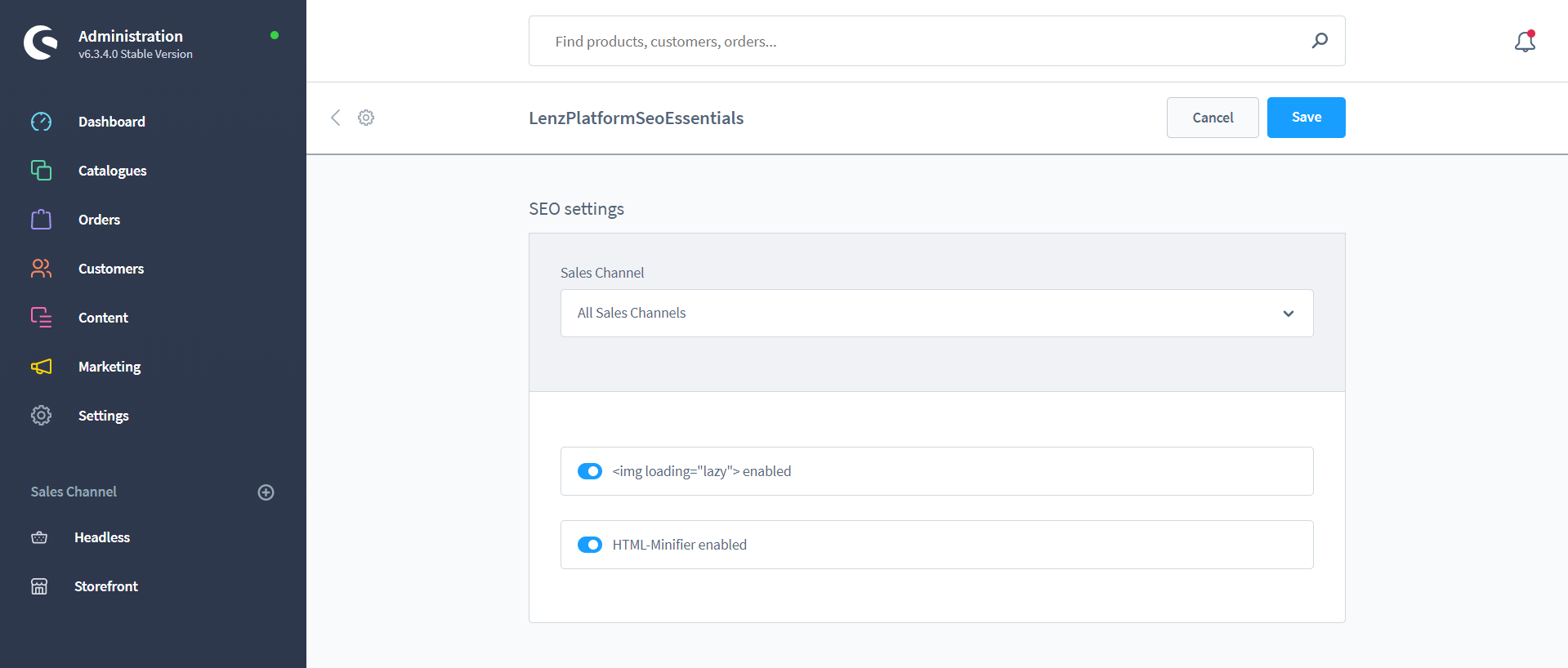 SEO Essentials (Natives Lazy Loading, HTML-Komprimierung, etc.) (SW6)